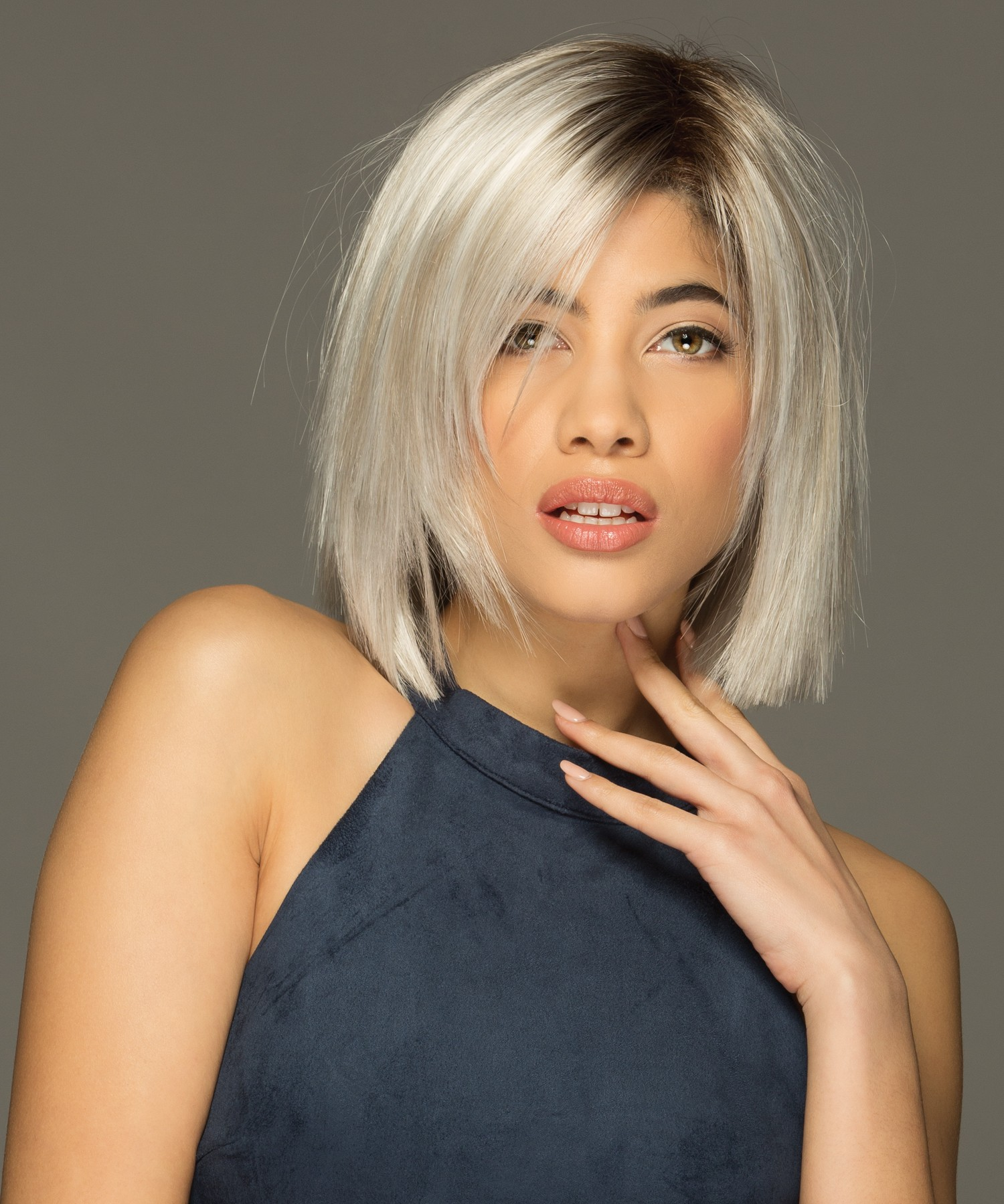 Ellis_Front, Lace Line Collection by Estetica Wigs, color shown is SILVERSUNRT8