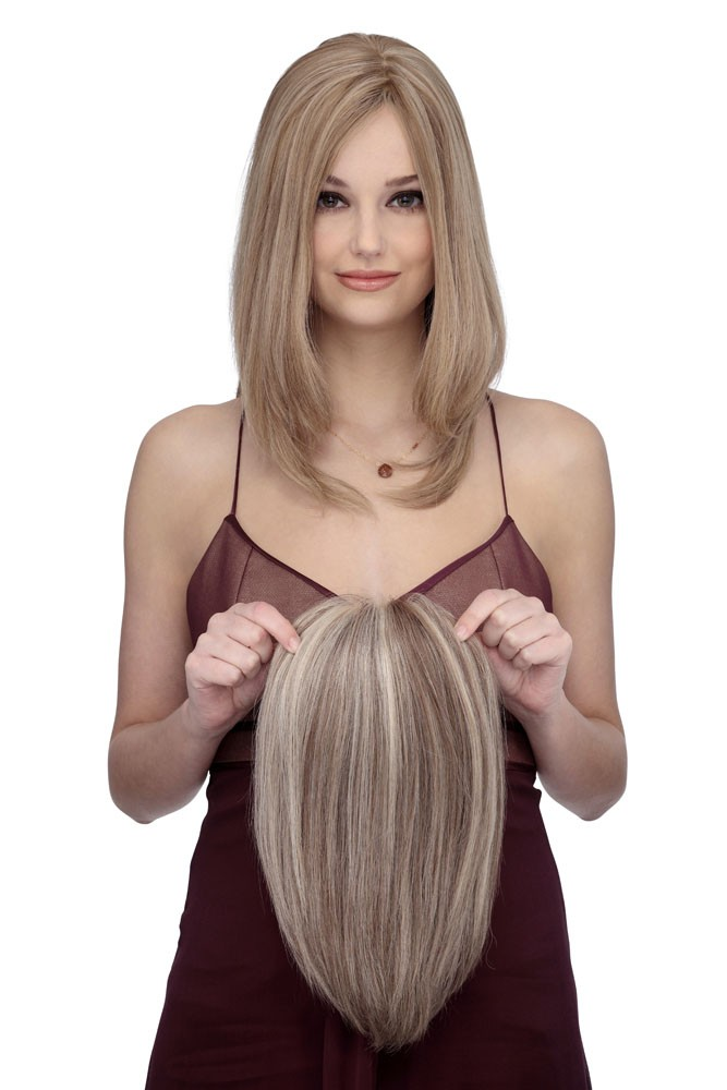 TP4003_outside view,Top Piece Collection,Louis Ferre Wigs(color shown is Sunny Blonde Brown)