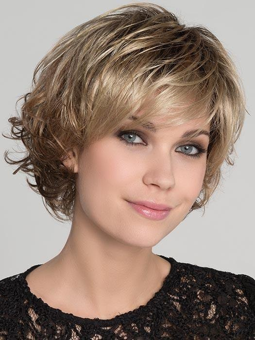 Flair Mono_Front, Hair Power Collection by Ellen Wille Wigs, Color shown is Caramel Rooted