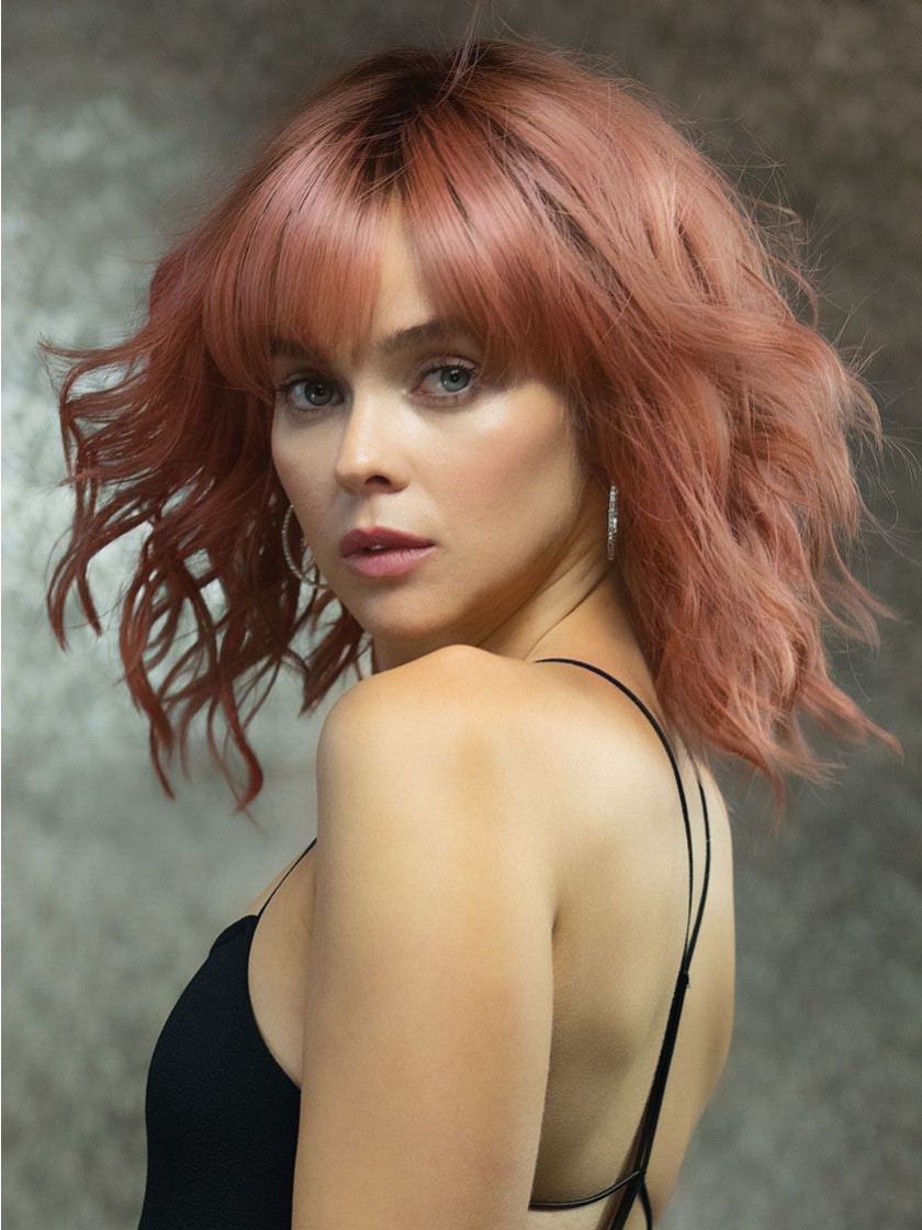 Breezy Wavez_Front, Muse Series Collection by Rene of Paris Wigs, color shown is Dusty Rose