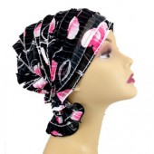 Delia_Black with Pink/White Large Circle Print Ruffle